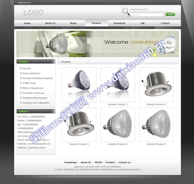 帝国cms适合各种外贸英文企业网站模板黑白色_产品列表