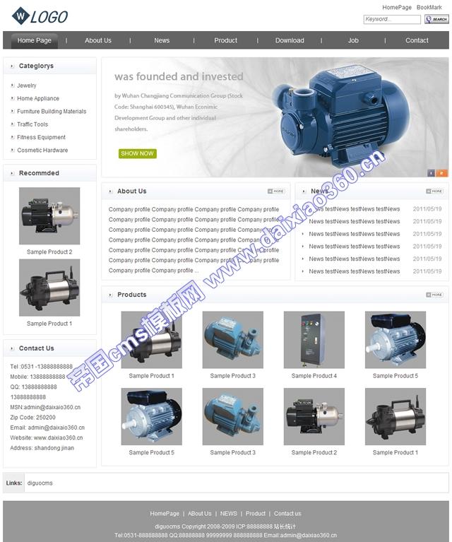 帝国cms通用灰白色外贸英文企业网站_首页