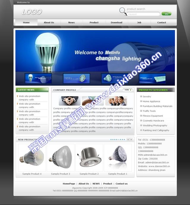 帝国cms适合各种外贸英文企业网站模板黑白色_首页